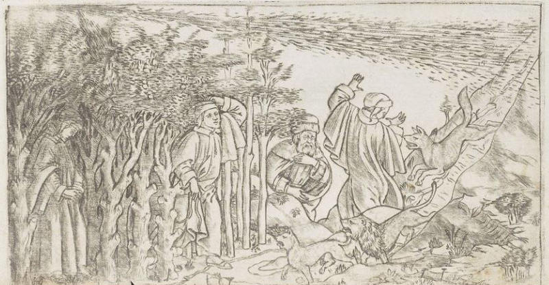 A line drawing - a person is chased down a hill by a wolf or dog, there run towards a forest where three people stand