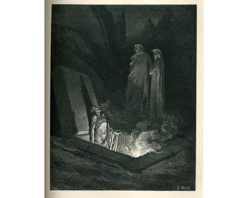 A black and white etching - a figure emerges from the ground whilst two bystanders look back