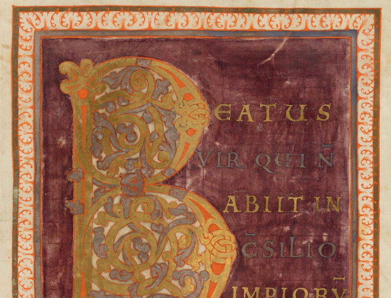 An illuminated letter B from a medieval manuscript
