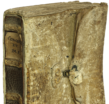 An image of a manuscript bound in the fifteenth century
