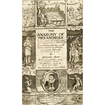The frontispiece of The Anatomy of Melancholy showing 10 vignettes associated with melancholia and its cures