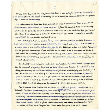 A page of written manuscript in a mixture of blue and black ink