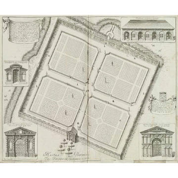 A grey and white drawing of a garden plan - in the centre is a birds eye view of a garden separated into four. Around the edge are drawn four built structures