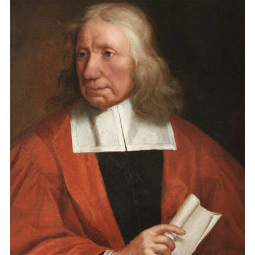 A portrait of a man - he faces to the left, he has shoulder-length grey hair and wears a red gown over a black undercoat. He hold a scroll of paper in his right hand