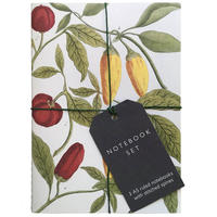The front of a notebook: a floral pattern - with green leaves, and yellow and red fruits - tied up with black string