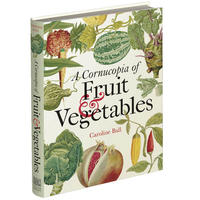 A book cover - the title is on a background of various fruits and vegetables including a melon, carrot, chilli, pomegranate and lettuce